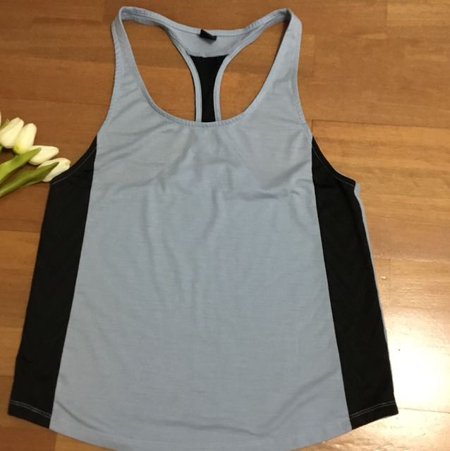 Jagged pale blue tank Size S