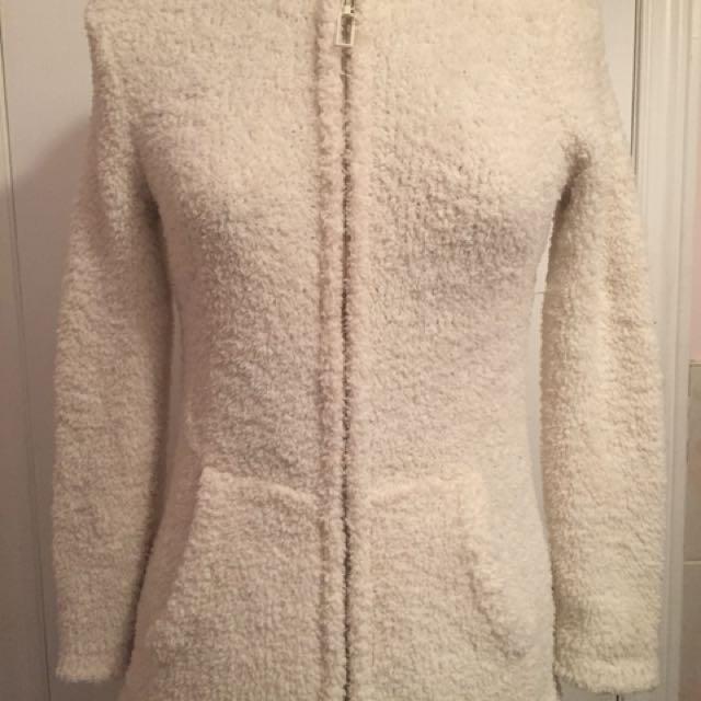 Kids Fuzzy white zip-up sweater
