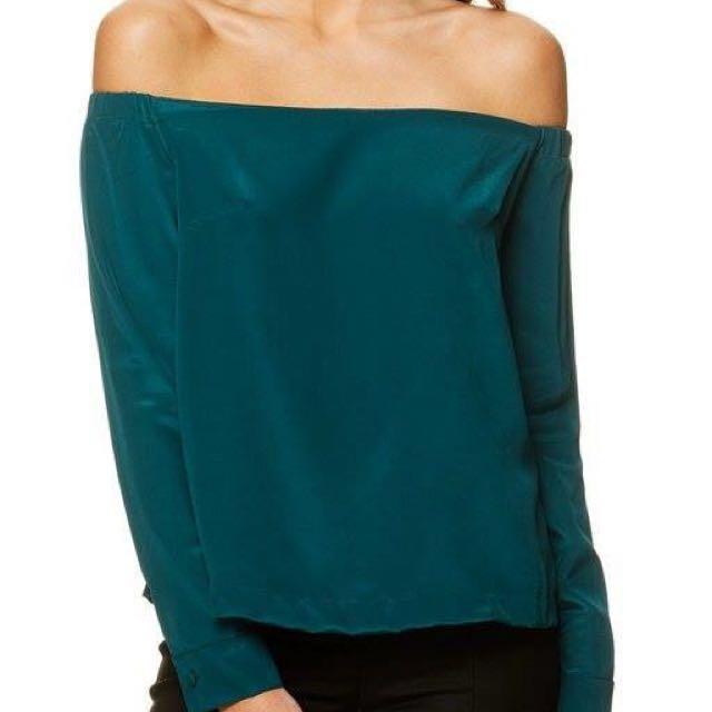 Kookai emerald off-the shoulder top
