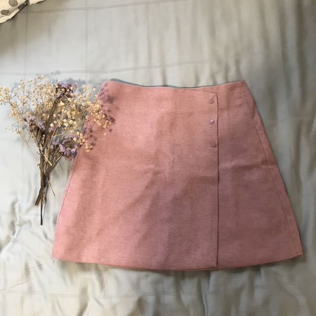 Korean Blush Pink A Line Skirt