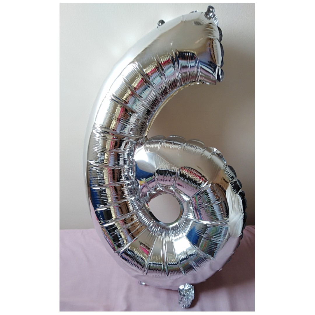 Large Number 6 Aluminium Balloon for Parties (50-60cm)