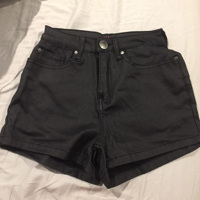 Leather-look shorts