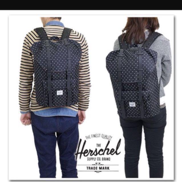 Little America mid小美國 Herschel 加拿大品牌正品黑白點點黑色膠條13吋休閒後背包筆電包二手