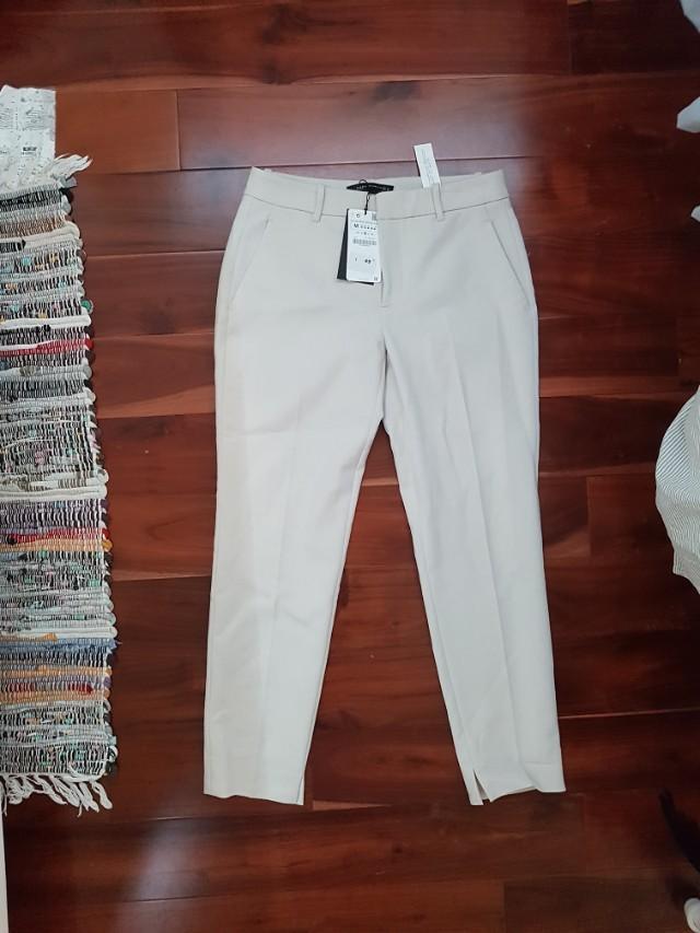 M zara beige dress pants