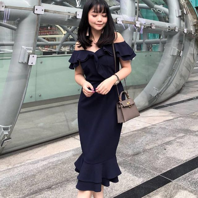 30e25348dc0a MDS- Flounce Mermaid Dress in Navy, Women's Fashion, Clothes ...