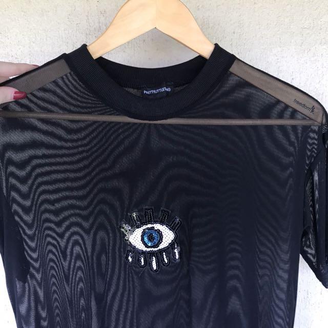 Mesh T-shirt Dress - Black