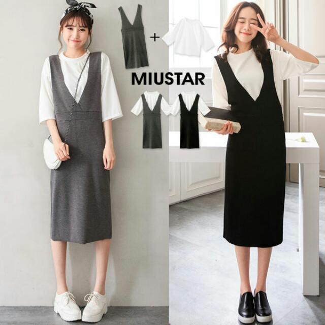 全新轉賣MIUSTAR 兩件式!壓紋上衣+彈力雙V吊帶洋裝(黑色)