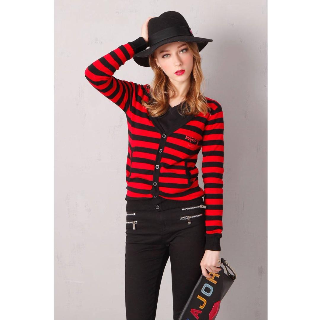MJR 🖤 二手 Major made 條紋 針織 雙面穿 外套 黑紅 可愛