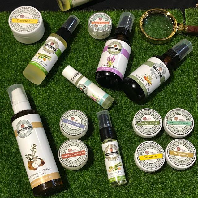 Natural balance pain reliever, massage oil, lipbalm, sunscreen