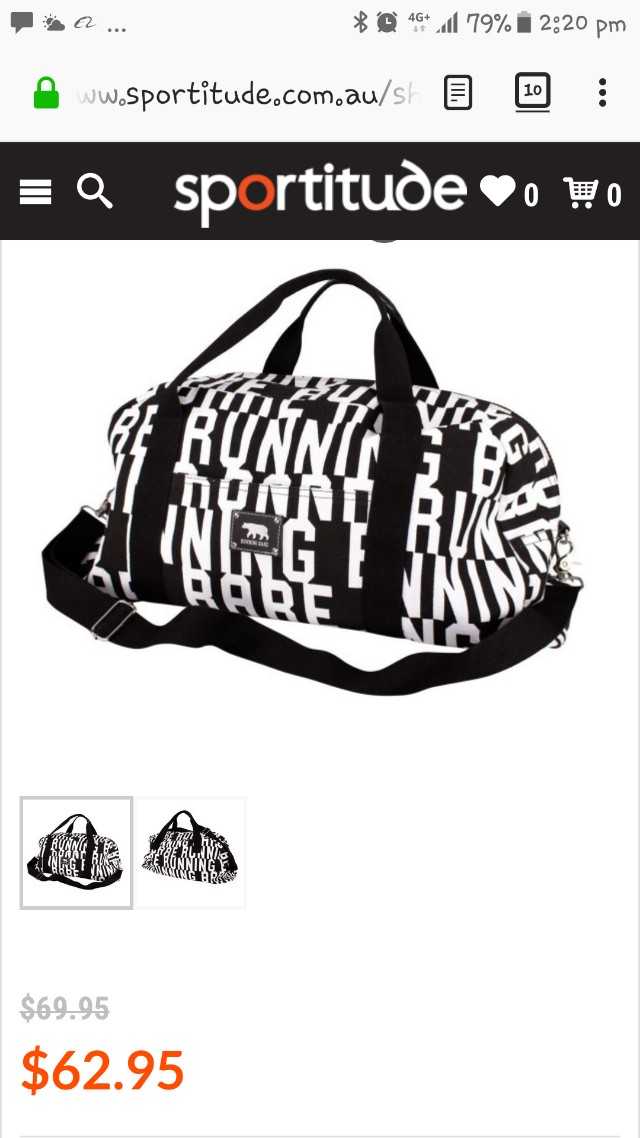 Never used Running Bare canvas duffel bag