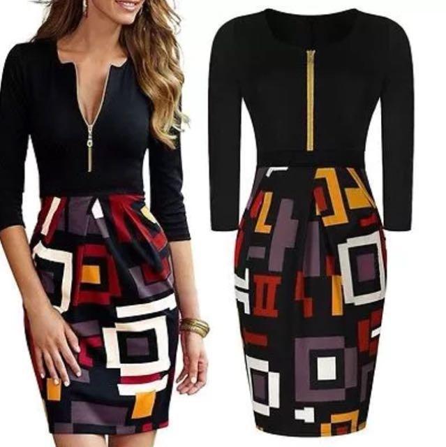 NEW geometric print, 3/4 sleeve dress, sz 12
