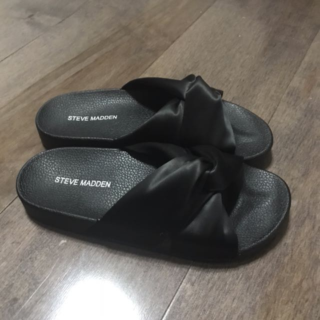 nueva estilo moderno última colección NEW Steve Madden Black Silk Slides Sandals, Women's Fashion, Shoes ...