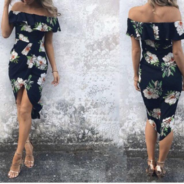 Off shoulder ruffle cocktail dress