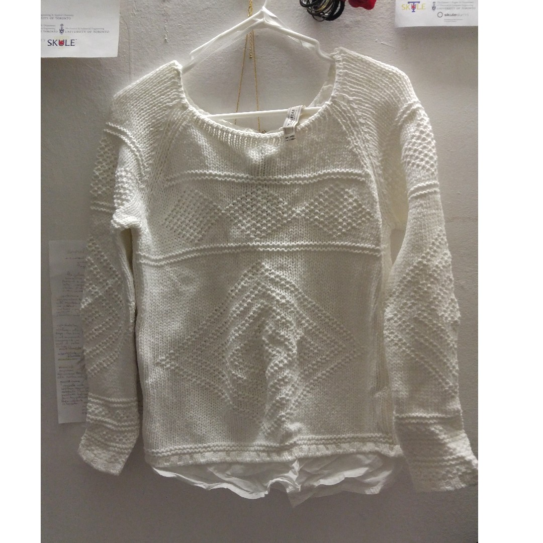 Off white knit sweater pull&bear