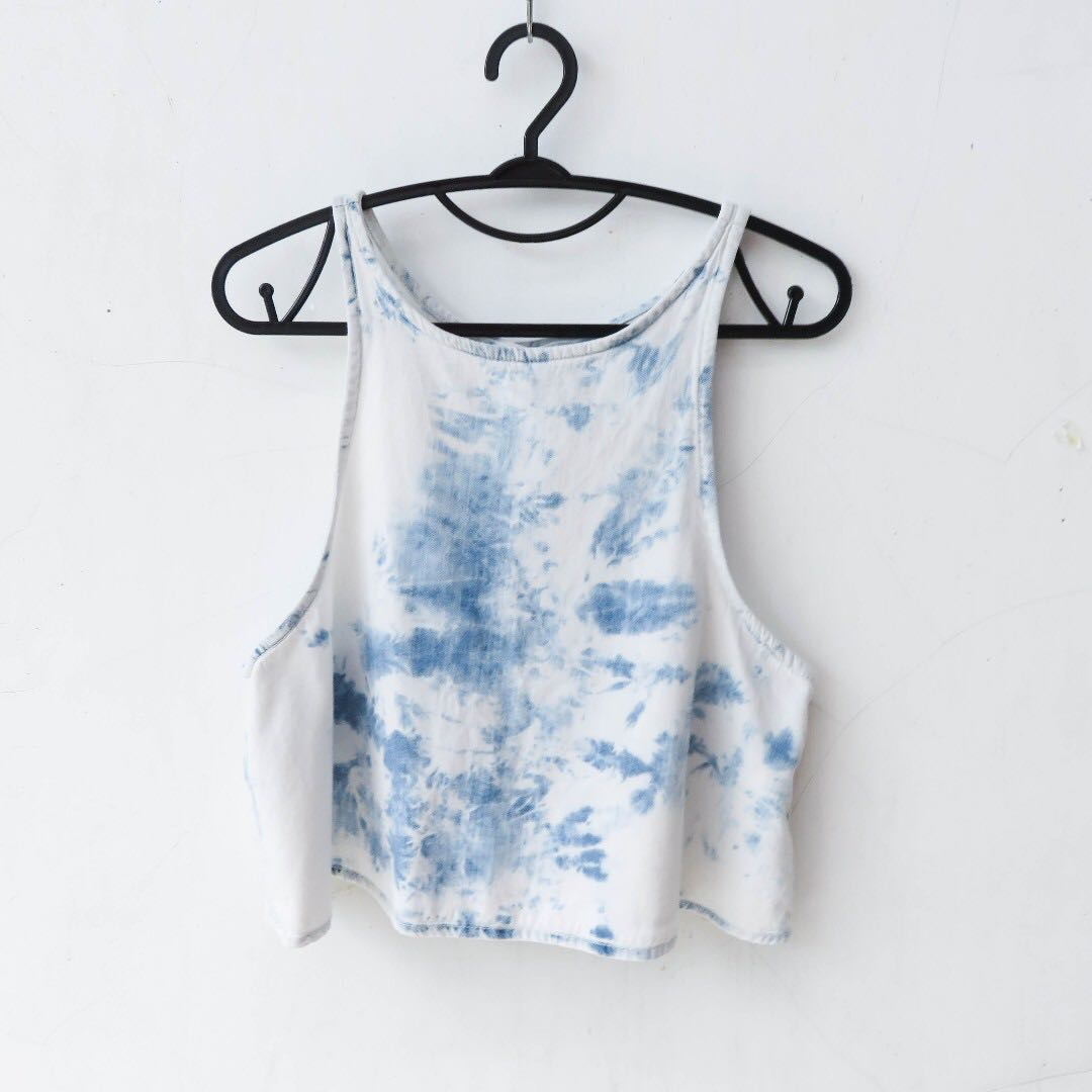 PULL&BEAR DENIM CROP TOP WITH OPEN BACK