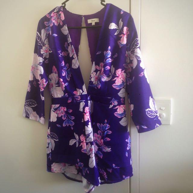 Purple Floral Playsuit - Size 10