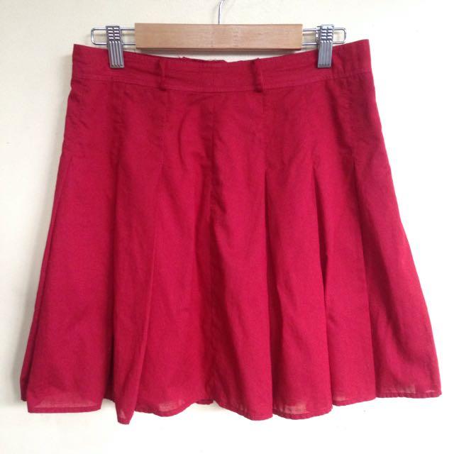 Red Pleated Skirt Medium