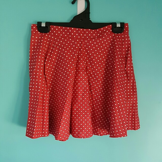 Red Polka Dot High Waist Skirt