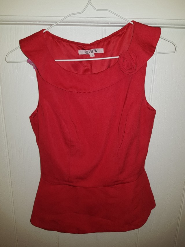 Red Review Shirt with Rose