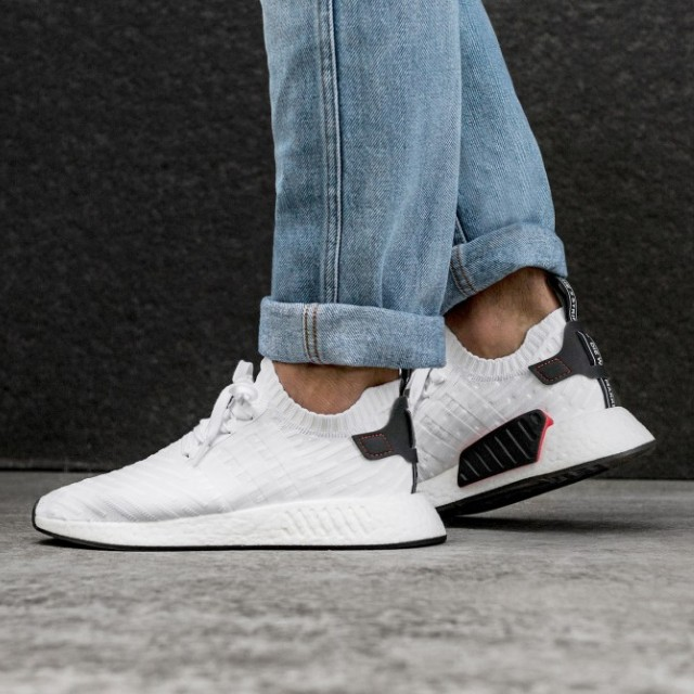 buy popular 62cd1 1ba1c SALE!! Adidas NMD R2 PK - White / Red Black Tab, Men's ...