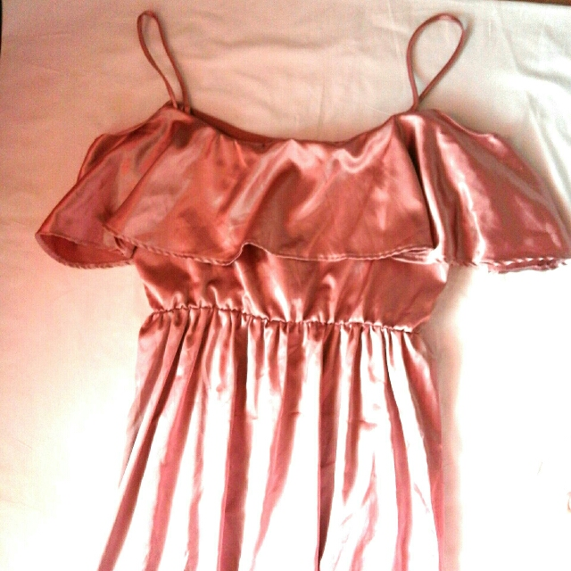 Satin Rose Gold Off Shoulder Long Gown (REPRICED)