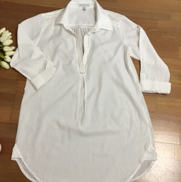 Soft white cotton shirt dress