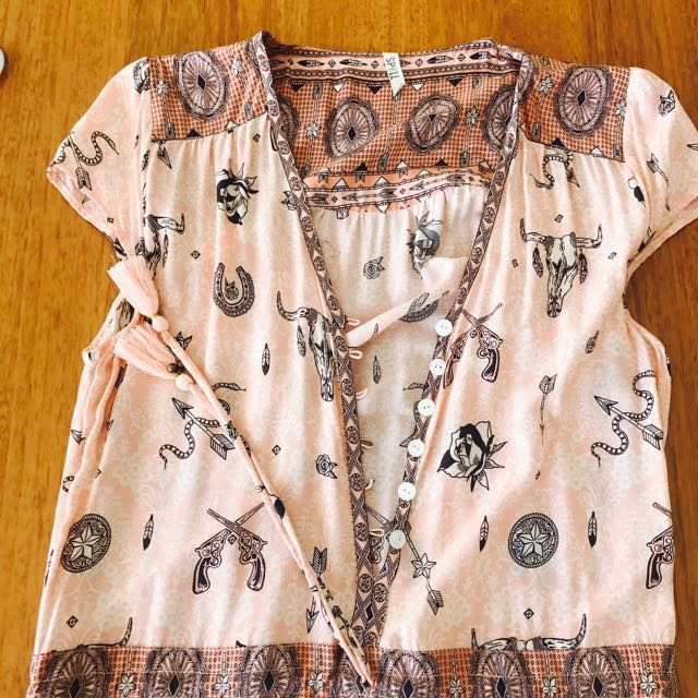 Spell peach coyote playsuit