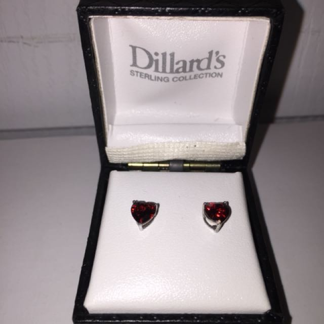 Stirling silver Red heart earrings