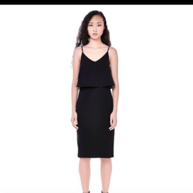 Tem Saruchi Two Tier Layered Midi Dress Black Women S Fashion Clothes Dresses Skirts On Carou