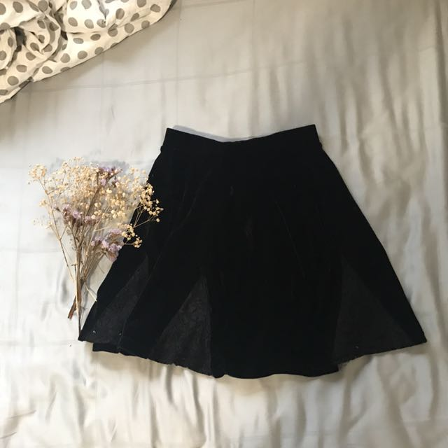 Topshop Velvet Lace Trim Skater Skirt