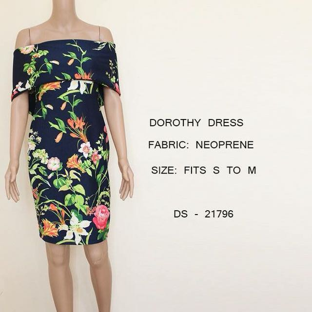 Tropical Floral Black Dress Off Shoulder Office / Party wear