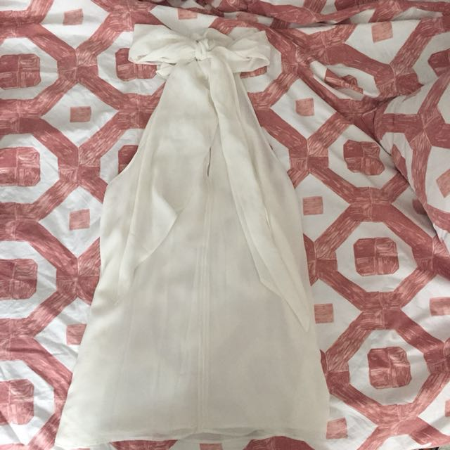 White high neck feature bow Witchery work top Sz 10