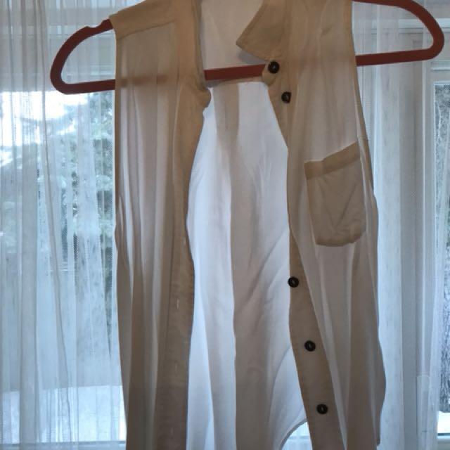 White sleeveless dress shirt