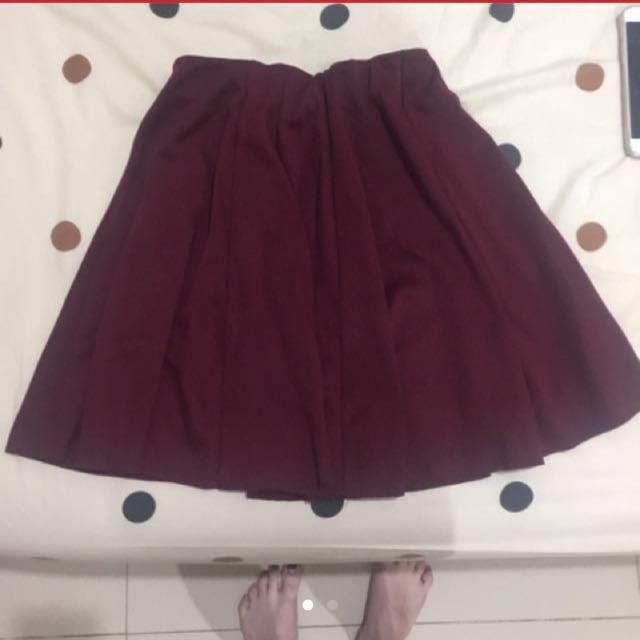 zara flare maroon skirt