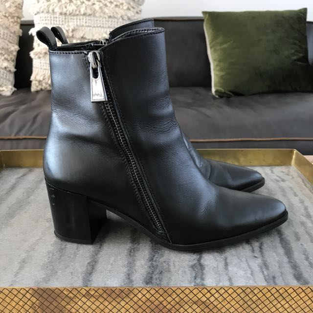 Zara Leather Boots Ankle Boots Size 38