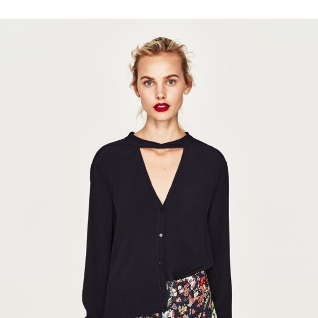Zara Plunge V Neck Shirt With Bow At The Back