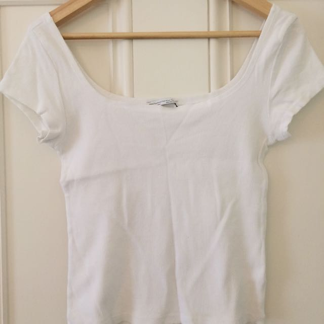 ZARA: White Ribbed T-shirt, Wide Neck