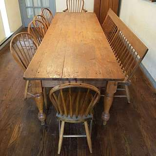 Solid pine harvest table, bench and chairs