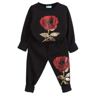 Girls Sequin Floral Nightsuit