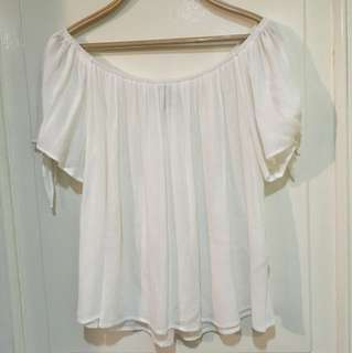 Forever 21 off the shoulder top with tie at sleeves