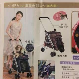 台灣製造小漫遊寵物推車,保固2年,附購買證書