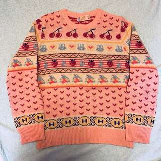 Hysteric Glamour sweater 粉紅色花花圖案針織毛衣 線衫 兔仔車厘子心心