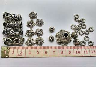 Tibetan silver spacer beads for handmade jewellery, Chinese New Year knot craft decoration