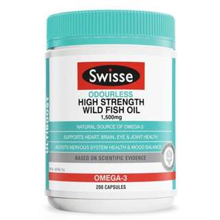 [ In Stock ]  Swisse Ultiboost Odourless Super Strength Wild Fish Oil 2000mg 200 Capsules