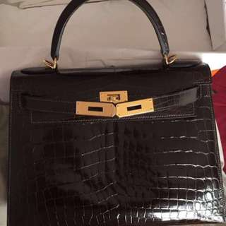 Authentic Hermes Kelly 28 macassar niloticus shiny ghw stamp A