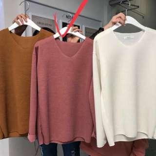 正韓🇰🇷素面微v針織毛衣上衣(粉色)#有超取最好買#冬季衣櫃出清