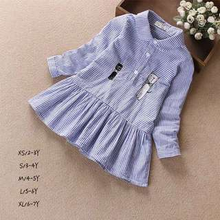 Baby Girl Long Sleeves Striped Dress