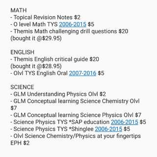 O LVL USED NOTES AND BOOKS
