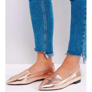 ASOS Rose Gold Metallic Loafers Shoes