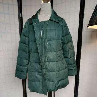 森林綠 羽絨保暖大衣外套